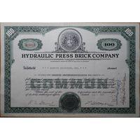 Акция сертификат компании Hydraulic press brick company 1956 г.
