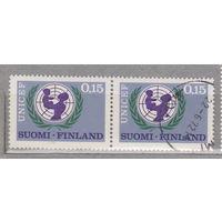 Финляндия  20-летие ЮНИСЕФ 1966 год лот 4 Сцепка ЧИСТАЯ и гашеная менее 50% то каталога можно раздельно