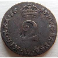 30. Англия 2 пенса 1698 год, Вильям-3, серебро