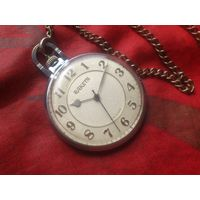 Часы РАКЕТА 2609 ПАРУСНИК (КАРАВЕЛЛА) КАРМАННЫЕ из СССР 1980-х,С ЦЕПОЧКОЙ