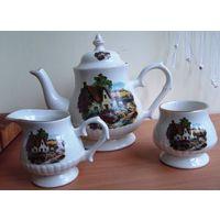 Большой заварочный чайник, сливочник и сахарница - все для настоящего английского чаепития. Price Kensington Potteries. Отменное английское качество