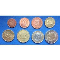 Латвия 1, 2, 5, 10, 20, 50 евроцентов, 1, 2 евро 2014