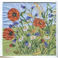 Салфетка для декупажа. Летняя, маки, ромашки цветы. 33 х33 см