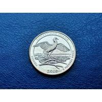 США. 25 центов (квотер, 1/4 доллара) 2018 D. Национальное побережье острова Кумберленд. (2).