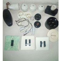 Старая электрика СССР карболит  фарфор радио розетка кнопка звонок