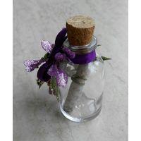 Миниатюрная декоративная бутылка (7 см) с письмом внутри. (Письмо напишите сами на свитке)