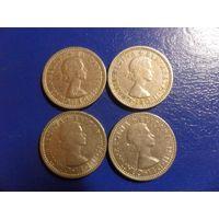 Великобритания 6 пенсов 1957,1958,1964,1966 г.-цена за монету