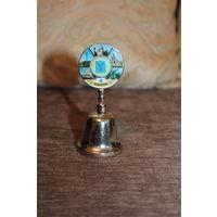 Сувенирный, металлический колокольчик, Саратов, высота 10 см.