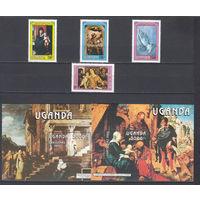 Живопись. Религия. Рождество. Уганда. 1986. 4 марки и 2 блока (полная серия). Michel N 509-512, бл66-67 (20,5 е)