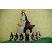 """Штоф - статуэтка  """" Рыба + 6 рыбок """"  ЗХК Полонное   ( все целое )"""
