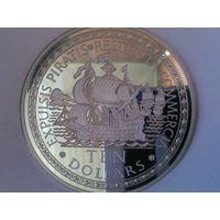 """Багамские острова (Багамы) 10 долларов 1993 год """"ИЗГНАНИЕ ПИРАТОВ - ВОЗОБНОВЛЕНИЕ ТОРГОВЛИ"""", PROOF 136,08 гр. серебра - ОГРОМНАЯ !!!Тираж-2000 шт."""