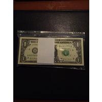 1 доллар США 2017 года (100 штук одним лотом) в банковской упаковке, по номерам.