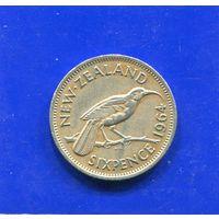 Новая Зеландия 6 пенсов 1964