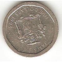 Ямайка. 5 долларов 1996