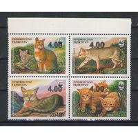 Таджикистан WWF Кошки 2016 год надпечатки новых номиналов на серии 2002 года чистая полная серия из 4-х марок в квартблоке