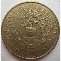 Италия 200 лир 1994 г. 180 лет карабинерам (g)