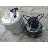 Примус, бензиновая горелка, переносная газплита, Шмель 4 СССР, комплект, рабочая