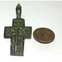 Красивый старинный нательный крестик, состояние+бонус редкая пуговица