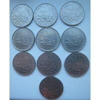 Франция 1 франк 1960, 1962, 1971, 1972, 1973, 1974, 1975, 1977, 1978, 1991 гг. Цена за 1 шт.