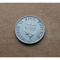 Британская Индия, 1/4 рупии 1947 г., Георг VI (1936-1952, император Индии в 1936-1947), медно-никель