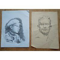 Крохалев Петр. Два рисунка мужчин. Карандаш. Бумага. 15х21 см. Цена за 1.