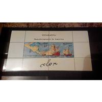 Корабли, парусники, флот, транспорт, Открытие Америки, исторические события, карты, марки, Никарагуа, 1986, блок