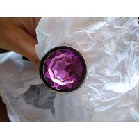 Анальная пробка. средняя 82*34 мм, металл, круглый фиолетовый камень, новая