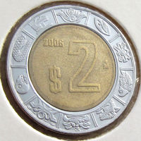 Мексика, 2 песо 2006 года, KM#604