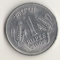 1 рупия 2002 г. МД: Бомбей.