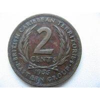 Восточные Карибы 2 цента 1955 г.