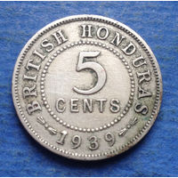 Британский Гондурас колония 5 центов 1939 тираж 20000