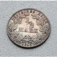 """Германия 1/2 марки, 1906 """"D"""" - Мюнхен 7-10-17"""