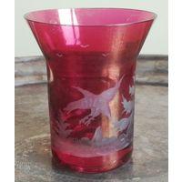 Уникальный старый стакан рюмка бокал для вина RIEDEL GLAS Австрия резьба цветное стекло