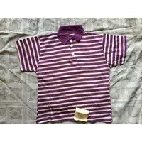 Майка футболка СССР 1995г с воротником на пуговках с полосочку Новая