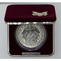 1 доллар 1988 г. Олимпийские игры в Сеуле. Футляр. Капсула. Сертификат. Серебро. UNC. KM# 222.