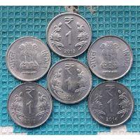 Индия 1 рупия, UNC. Герб.