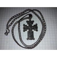 Редкий старый двухсторонний крест с цепочкой