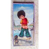 """Картина """"Мальчик, писающий в Сену"""" Монмартр, Париж,  Франция, холст, масло"""