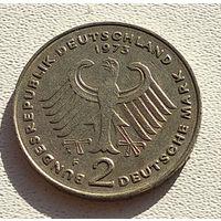 """Германия 2 марки, 1973 Теодор Хойс, 20 лет Федеративной Республике """"F"""" - Штутгарт 5-2-16"""