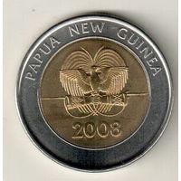 Папуа  Новая Гвинея 2 кина 2008 35 лет Банку Папуа Новой Гвинеи
