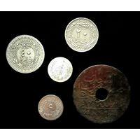 5 МОНЕТ ОСМАНСКОЙ ИМПЕРИИ С СЕРЕБРОМ (2 куруша, 1293 (1876 г.) Ягоды справа вверху от тугры )