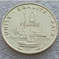 """Джибути. 10 франков 1991 год  КМ#23 """"Корабль"""" """"Порт"""""""