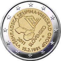 2 евро Словакия 2011 20 лет формирования Вишеградской группы UNC из ролла