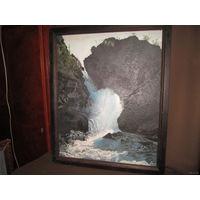 Картина.Прекрасно прописанный водопад.Картон,масло.Р-Р 52х42см.80-е года 20го века.