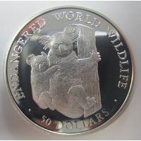 Остров Кука. 50 долларов 1990. Коалы. Серебро (26)