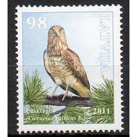 Птицы Латвия 2011 год 1 чистая марка