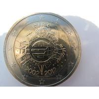 Ирландия 2 евро 2012 г. 10 лет евро наличными. (юбилейная) UNC!
