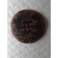 Полушка 1731 перечекан из крестовой копейки