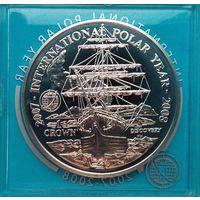 Фолклендские острова 1 крона 2007 Парусник Дискавери. Серебро.